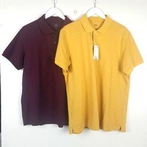 Uniqlo Polo Shirt Bundle-2 Yellow and Burgundy XL